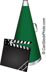 Movie clapper and speaker