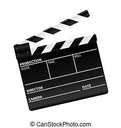 3D rendering of a movie clapper board
