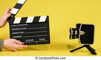 Movie clapper board.