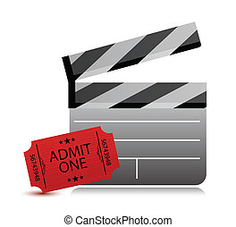 movie clapper board and movie tickets on white