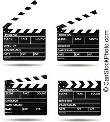 Movie clapper board Black open clapperboard Realistic film clapper