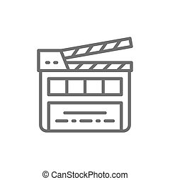 Movie clapper board, clapperboard line icon.