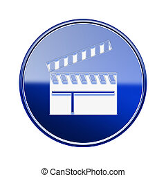 movie clapper board icon glossy blue, isolated on white background.