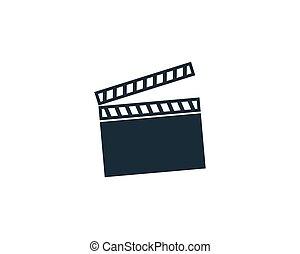 Movie Clapper Board Icon Vector Logo Template Illustration Design