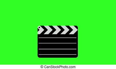 Movie clapper board Illustration. Green screen background....