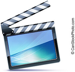 movie clapper board - Vector illustrator of open movie...