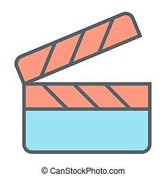 Movie clapper board line icon. Film production pictogram. Vector