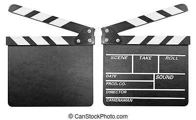 Movie clapper board or clapper-board set isolated on white