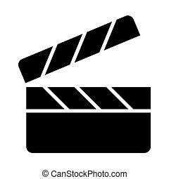 Movie clapper board silhouette icon. Film production pictogram. Vector