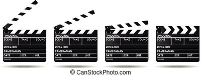 movie clapper boards isolated on white