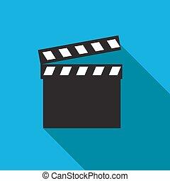 Movie clapper. Clapper board icon. Film frame, vector