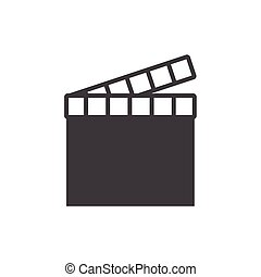 movie clapper icon on the background , vector