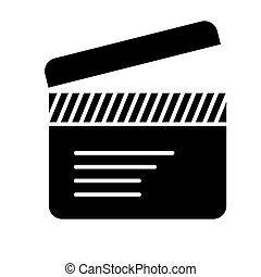 movie clapper icon, vector illustration, black sign on isolated background