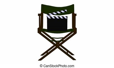 Movie Clapper - Movie clapper on a directors chair on a...