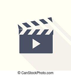 Movie clapper, play video icon, flat design vector illustration