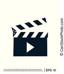 Movie clapper sign icon