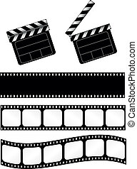 Movie clapper with film strips - Open and closed movie ...