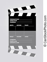 movie clapper with reflection