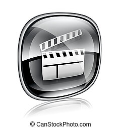 movie clapperboard icon black glass, isolated on white background.
