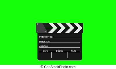 Movie clapperboard on a green background