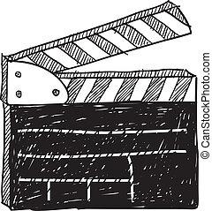 Movie clapperboard sketch - Doodle style movie set...