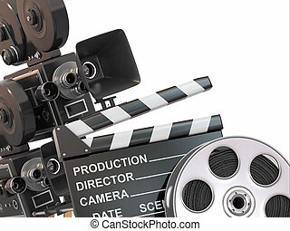 Movie composition. Vintage camera, reel and clapperboard. 3d