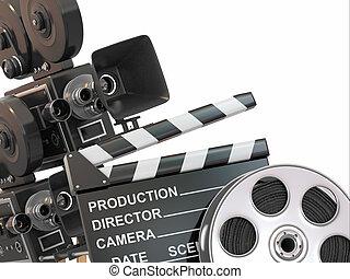 Movie composition. Vintage camera, reel and clapperboard. 3d