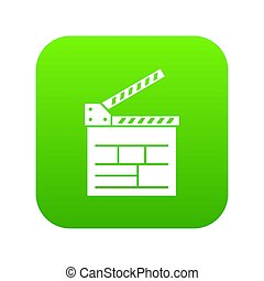 Movie Theater Screen Icon Green Isolated On White Background