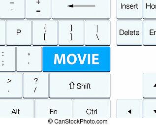 Movie cyan blue keyboard button