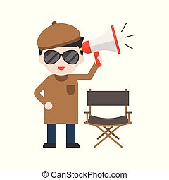 Movie Director and chair, megaphone, Set Profession character of people in uniform, flat design