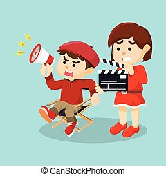movie director and girl