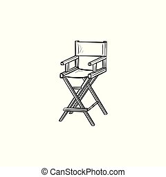 Movie director chair hand drawn sketch icon.