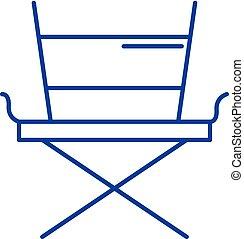Movie director chair line icon concept. Movie director chair flat vector symbol, sign, outline illustration.