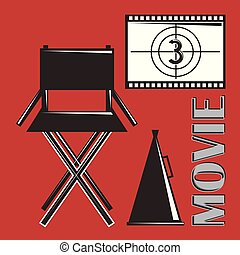 movie director chair megaphone and film strip countdown