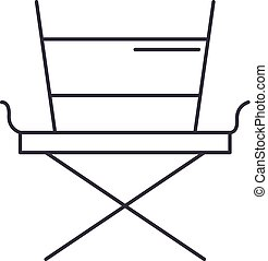 movie director chair vector line icon, sign, illustration on background, editable strokes