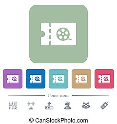 Movie discount coupon flat icons on color rounded square...