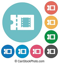 Movie discount coupon flat round icons - Movie discount...