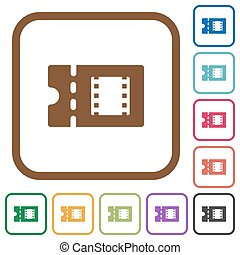 Movie discount coupon simple icons in color rounded square...