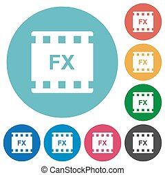 Movie effects flat round icons