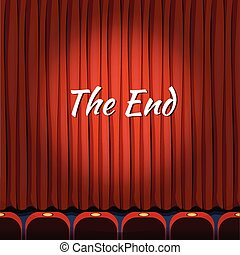 Movie ending screen vector concept background in cartoon style