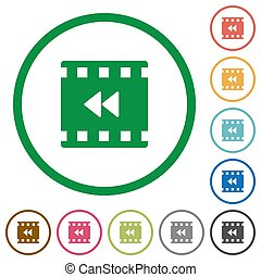Movie fast backward flat color icons in round outlines on white background