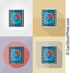 movie film flat icons vector illustration