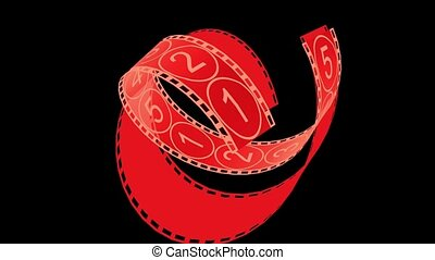 Movie Film footage with digital numbers.abstract multimedia videography.