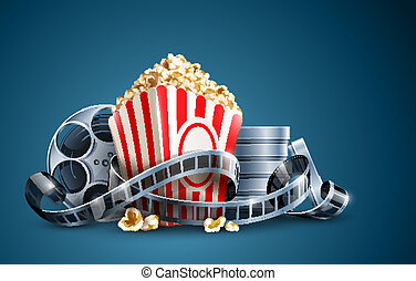 movie film reel and popcorn vector illustration on the blue...