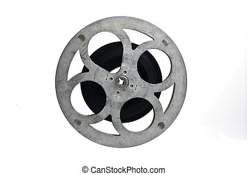 Movie film reel, partly filled; isolated on white ground