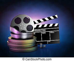 Illustration of movie film reels and cinema clapper