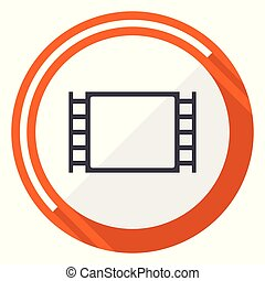 Movie flat design vector web icon. Round orange internet button isolated on white background.