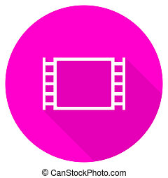 movie flat pink icon