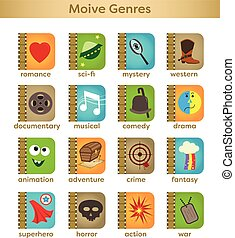Movie Genres - Set of sixteen movie genres icons. Eps10