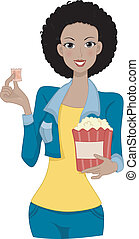 Movie Girl - Illustration of a Woman Holding a Movie Ticket...